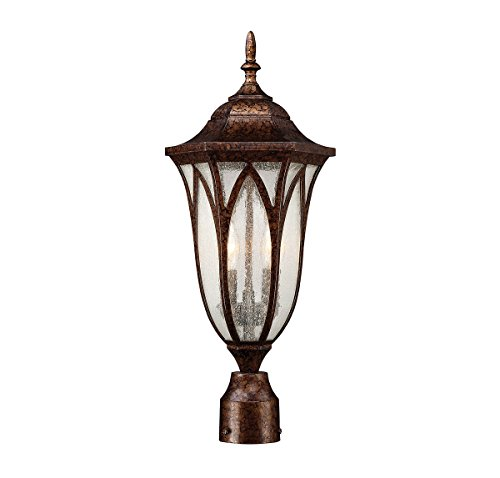 Outdoor-Post-2-Light-with-New-Tortoise-Shell-Finish-Candelabra-Bulbs-9-inch-120-Watts-0