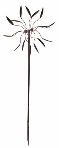 Panacea-88862-Kinetic-Art-Windmill-with-Dual-Leaf-Spinner-60-Inch-Height-Bronze-Finish-0