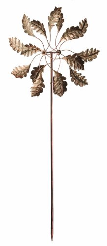 Panacea-88865-Kinetic-Art-Windmill-with-Leaf-Spinner-72-Inch-Height-Bronze-Finish-0