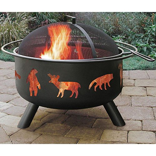 Patio-Fire-Pit-with-Cooking-Grate-24-in-Featuring-an-Artistic-Wildlife-Cutouts-Sturdy-Steel-Construction-in-Black-Finish-0-0