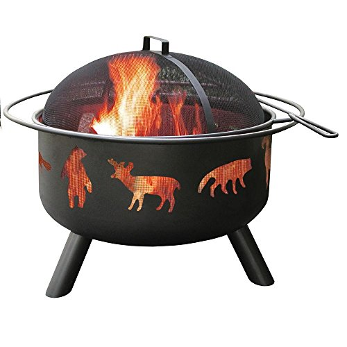 Patio-Fire-Pit-with-Cooking-Grate-24-in-Featuring-an-Artistic-Wildlife-Cutouts-Sturdy-Steel-Construction-in-Black-Finish-0