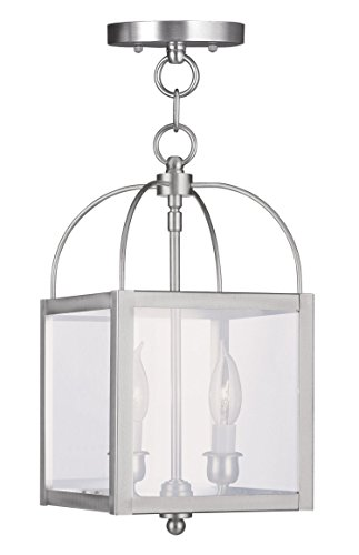 Pendants-Porch-2-Light-with-Clear-Glass-Brushed-Nickel-Size-8-in-120-Watts-World-of-Crystal-0
