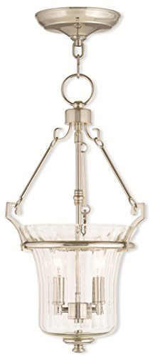 Pendants-Porch-2-Light-with-Hand-Crafted-Fluted-Clear-Glass-Polished-Nickel-Size-11-in-120-Watts-World-of-Crystal-0