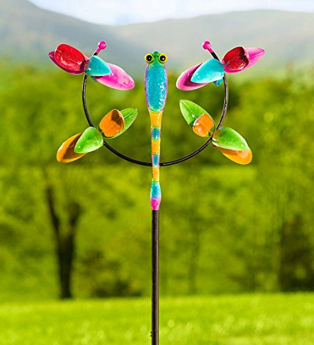 Plow-Hearth-55122-Dragonfly-Jubilee-Metal-Garden-Wind-Spinner-2675-L-x-115-W-x-7625-Multi-Colored-0