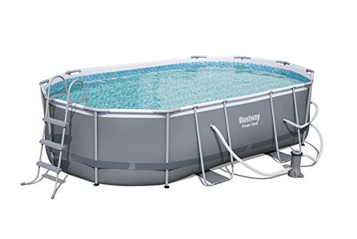 Power-Steel-16-x-10-x-42-Oval-Frame-Swimming-Pool-Set-with-Filter-Pump-Ground-Cloth-Pool-Cover-and-Ladder-0
