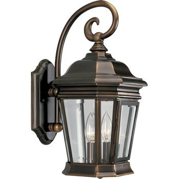 Progress-Lighting-P5671-108-2-Light-Wall-Lantern-with-Clear-Beveled-Glass-Panels-and-Scroll-Arm-Details-Oil-Rubbed-Bronze-0