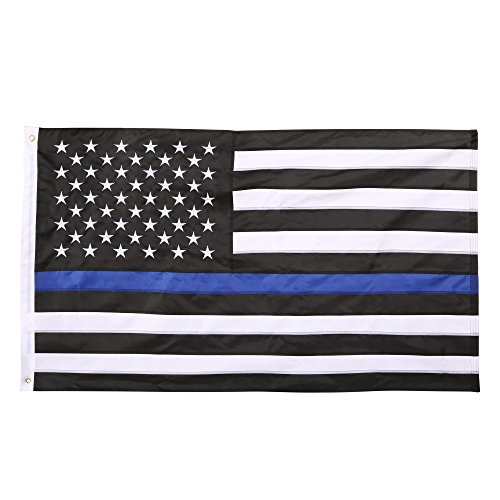 Qenci-Thin-Blue-Line-Flag-USA-Flag-3X5-Foot-Sewn-Stripes-American-Police-Flag-Honoring-Law-Enforcement-Officers-Black-White-and-Blue-0