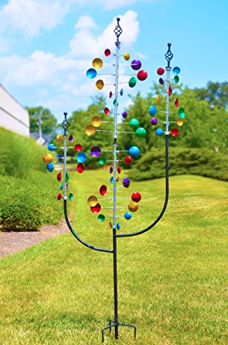 Red-Carpet-Studios-34435-Metal-Outdoor-Decor-Wind-Spinner-Garden-Stake-Tri-Tower-0-0