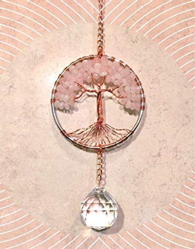 Rose-Quartz-Crystal-Tree-of-Life-Sun-Catcher-with-Crystal-Ball-PrismHandmade-Crystal-SuncatcherCrystal-Window-OrnamentFeng-Shui-Ornament-0