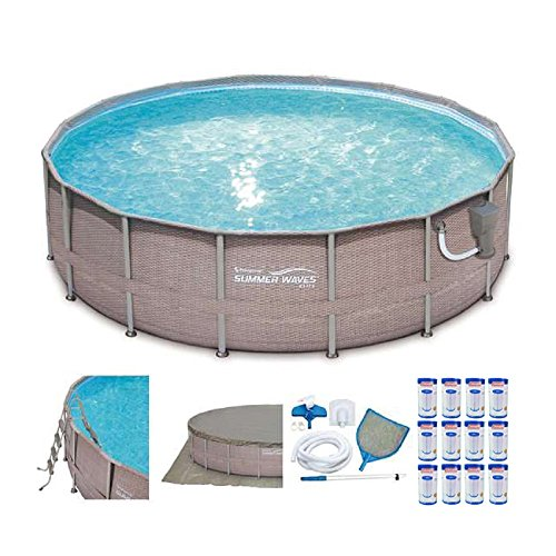 SUMMER-WAVES-Elite-16-x-48-Above-Ground-Frame-Pool-Set-12-Coleman-Type-III-AC-Filter-Cartridges-0