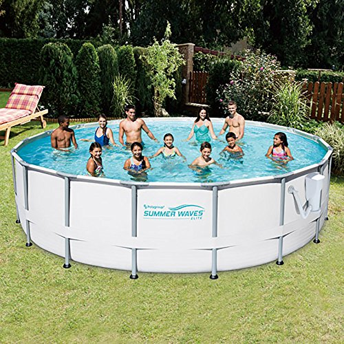 SUMMER-WAVES-Elite-18-Foot-Frame-Pool-Set-with-Filter-Pump-12-Filter-Cartridges-Type-VII-Type-D-0-0