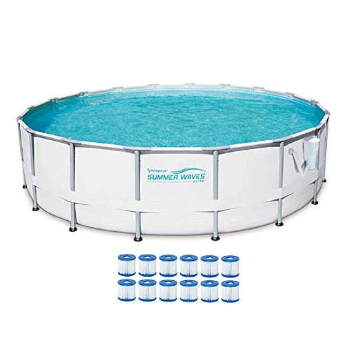 SUMMER-WAVES-Elite-18-Foot-Frame-Pool-Set-with-Filter-Pump-12-Filter-Cartridges-Type-VII-Type-D-0