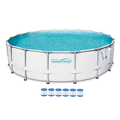 SUMMER-WAVES-Elite-18-Foot-Frame-Pool-Set-with-Filter-Pump-6-Filter-Cartridge-Type-VII-Type-D-0