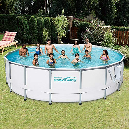 SUMMER-WAVES-Elite-18-Foot-Frame-Pool-Set-with-Filter-Pump-Kokido-Vacuum-0-0
