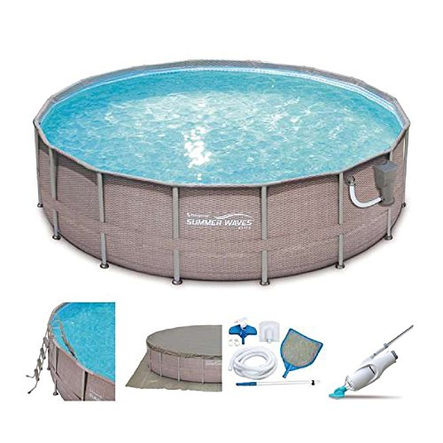 SUMMER-WAVES-Elite-18-x-48-Above-Ground-Frame-Pool-Set-Kokido-Electric-Cleaner-0