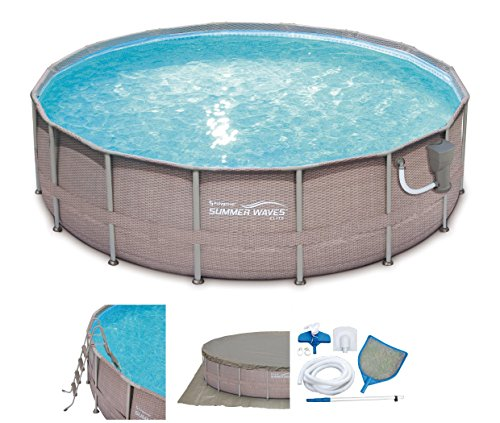 SUMMER-WAVES-Elite-Wicker-Print-18-x-48-Above-Ground-Frame-Pool-Set-with-Pump-0
