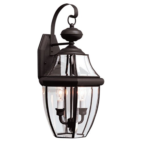 Sea-Gull-Lighting-8039-12-2-Light-Lancaster-Medium-Outdoor-Wall-Lantern-Clear-Beveled-Glass-and-Black-0