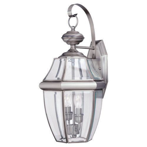 Sea-Gull-Lighting-8039-965-2-Light-Lancaster-Medium-Outdoor-Wall-Lantern-Clear-Beveled-Glass-and-Antique-Brushed-Nickel-0