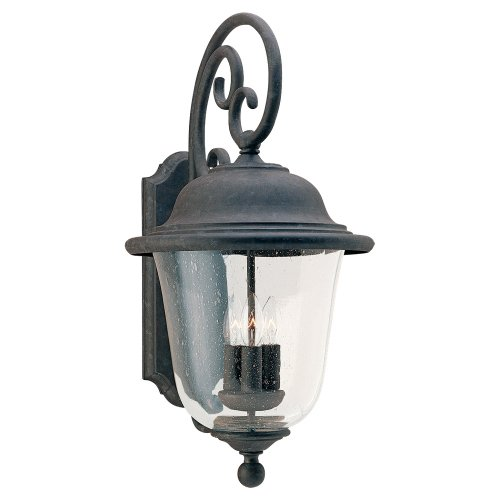 Sea-Gull-Lighting-8461-46-Outdoor-Sconce-with-Clear-Seeded-Glass-Shades-Oxidized-Bronze-Finish-0