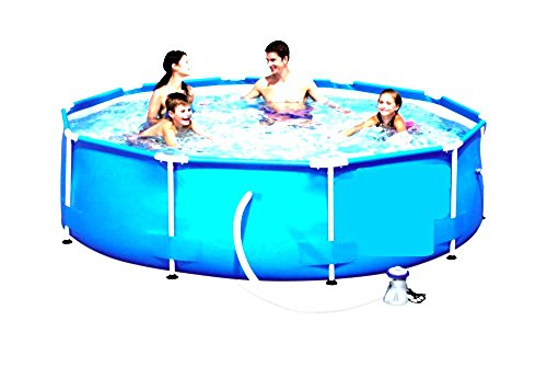 Skroutz-Swimming-Pool-With-Filter-Pump-System-Above-Ground-Pool-Floats-10×30-Frame-Outdoor-Garden-Water-Sports-Set-0