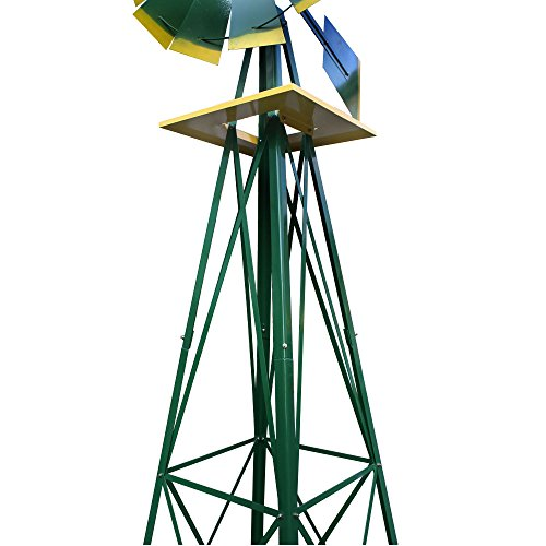 Smartxchoices-8-Wind-mill-Wind-Spinners-Ornamental-Garden-Decoration-Weather-Vane-WeatherRust-Resistant-8ft-Green-0