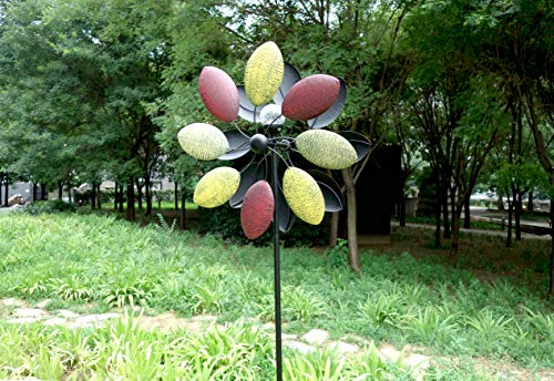 Solar-Wind-Spinner-7-Foot-Tricolor-Multi-Color-LED-Lighting-by-Solar-Powered-Glass-Ball-Perfect-Gardening-Gift-Amongst-Wind-Spinners-and-Windmills-Yard-Art-with-Kinetic-Dual-Direction-Spinning-0-0