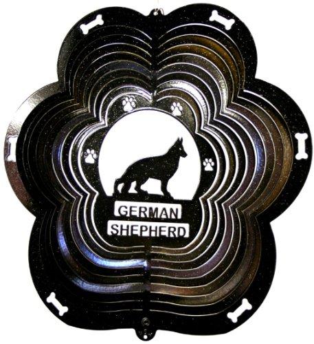 Stainless-Steel-German-Shepherd-Dog-12-Inch-Wind-Spinner-Black-0