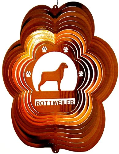Stainless-Steel-Rottweiler-Dog-12-Inch-Wind-Spinner-Copper-0