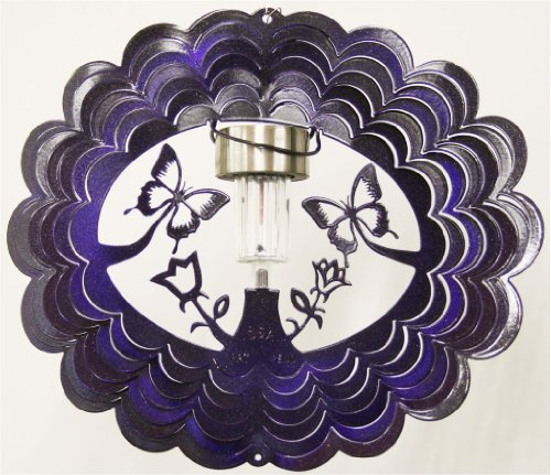 Stainless-Steel-Solar-Light-Butterfly-12-Inch-Wind-Spinner-Purple-0