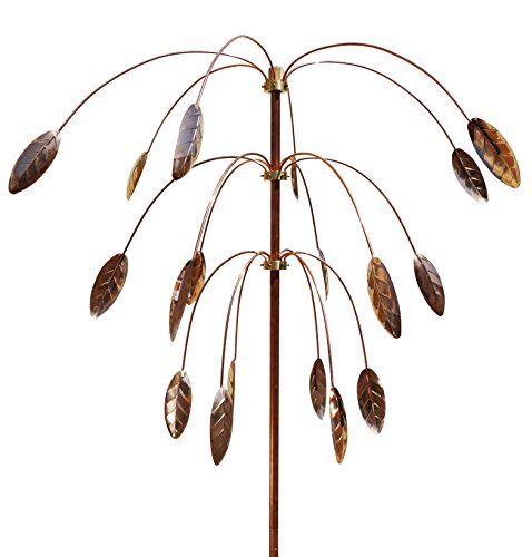 Stanwood-Wind-Sculpture-Kinetic-Copper-Triple-Spinner-Falling-Foliage-0