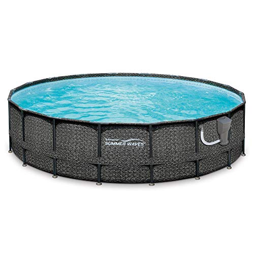 Summer-Waves-20-x-48-Elite-Frame-Wicker-Print-Above-Ground-Swimming-Pool-Set-0-0