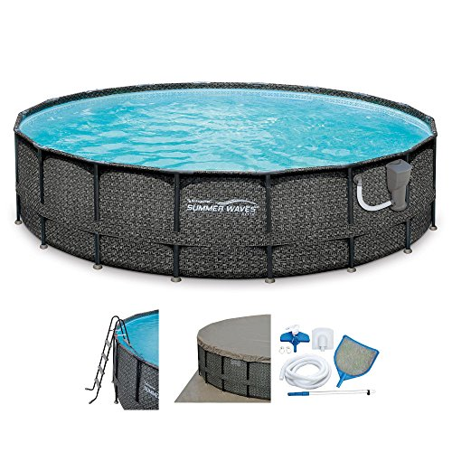 Summer-Waves-20-x-48-Elite-Frame-Wicker-Print-Above-Ground-Swimming-Pool-Set-0