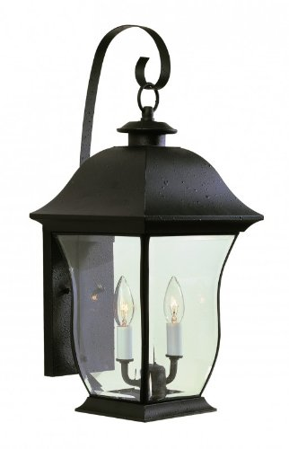 Trans-Globe-4971-BK-Classic-Two-Light-Wall-Bracket-Black-Finish-with-Beveled-Glass-0