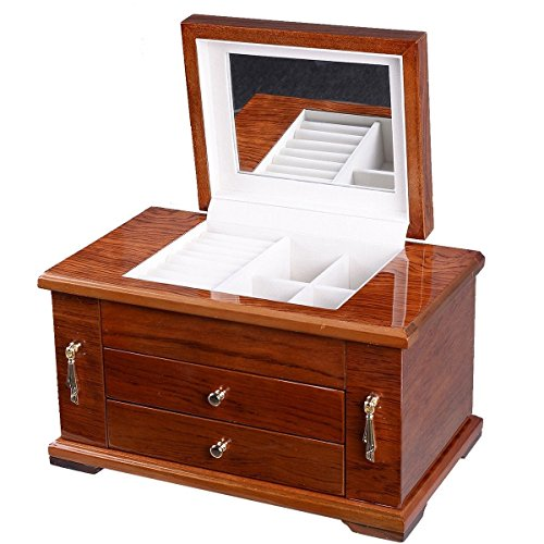 UBRTools-Best-Wooden-Jewelry-Case-3-Layers-Storage-Box-Necklace-Organizer-Display-Gift-0