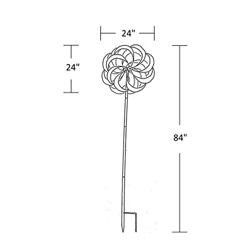 UDL-Flower-Wind-Spinner-Kinetic-Art-Decorative-Garden-Stake-Outdoor-Dual-Motion-Double-Spiral-Metal-Lawn-Ornament-Bronze-Powder-Coated-Yard-Sculpture-0-2