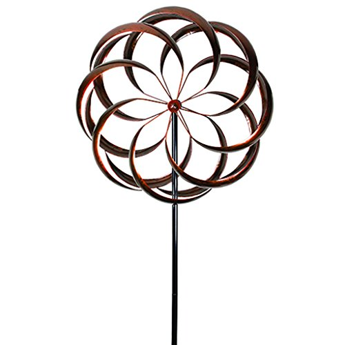 UDL-Flower-Wind-Spinner-Kinetic-Art-Decorative-Garden-Stake-Outdoor-Dual-Motion-Double-Spiral-Metal-Lawn-Ornament-Bronze-Powder-Coated-Yard-Sculpture-0