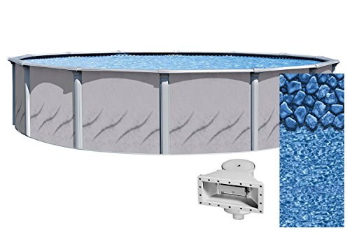 Wilbar-33-Foot-Round-Galeria-Above-Ground-Swimming-Pool-52-Inch-Height-Boulder-Swirl-Overlap-Liner-and-Wide-mouth-Skimmer-Bundle-Resin-Protected-Steel-Sided-Walls-0