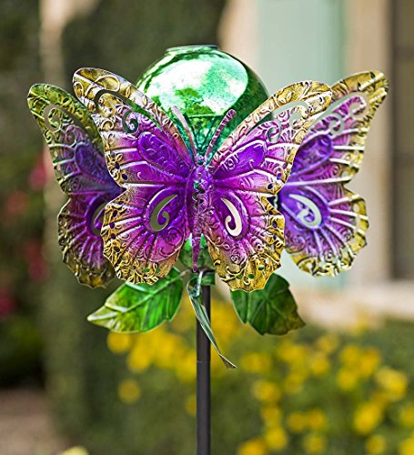 Wind-Weather-KA6932-Outdoor-Solar-Butterfly-Glowing-Mercury-Glass-Orb–Kinetic-Yard-Art-Garden-Wind-Spinner-1625-Dia-x-635-Multi-Colored-0