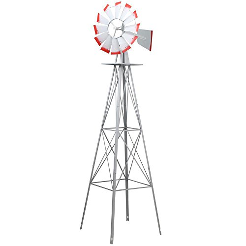 World-Pride-Windmill-Ornamental-Metal-Wind-Wheel-Gray-and-Red-Garden-Weather-Vane-Rust-Resistant-8FT-0-1