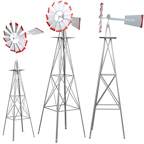 World-Pride-Windmill-Ornamental-Metal-Wind-Wheel-Gray-and-Red-Garden-Weather-Vane-Rust-Resistant-8FT-0-2