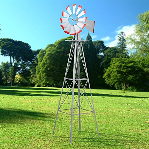 World-Pride-Windmill-Ornamental-Metal-Wind-Wheel-Gray-and-Red-Garden-Weather-Vane-Rust-Resistant-8FT-0