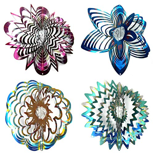 WorldaWhirl-Whirligig-3D-Wind-Spinner-Hand-Painted-Stainless-Crystal-Twister-Bundle-12-Inch-Set-of-4-0